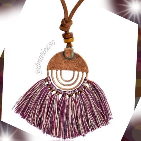 New Boho Necklace w/ Bronze pendant & Tassels